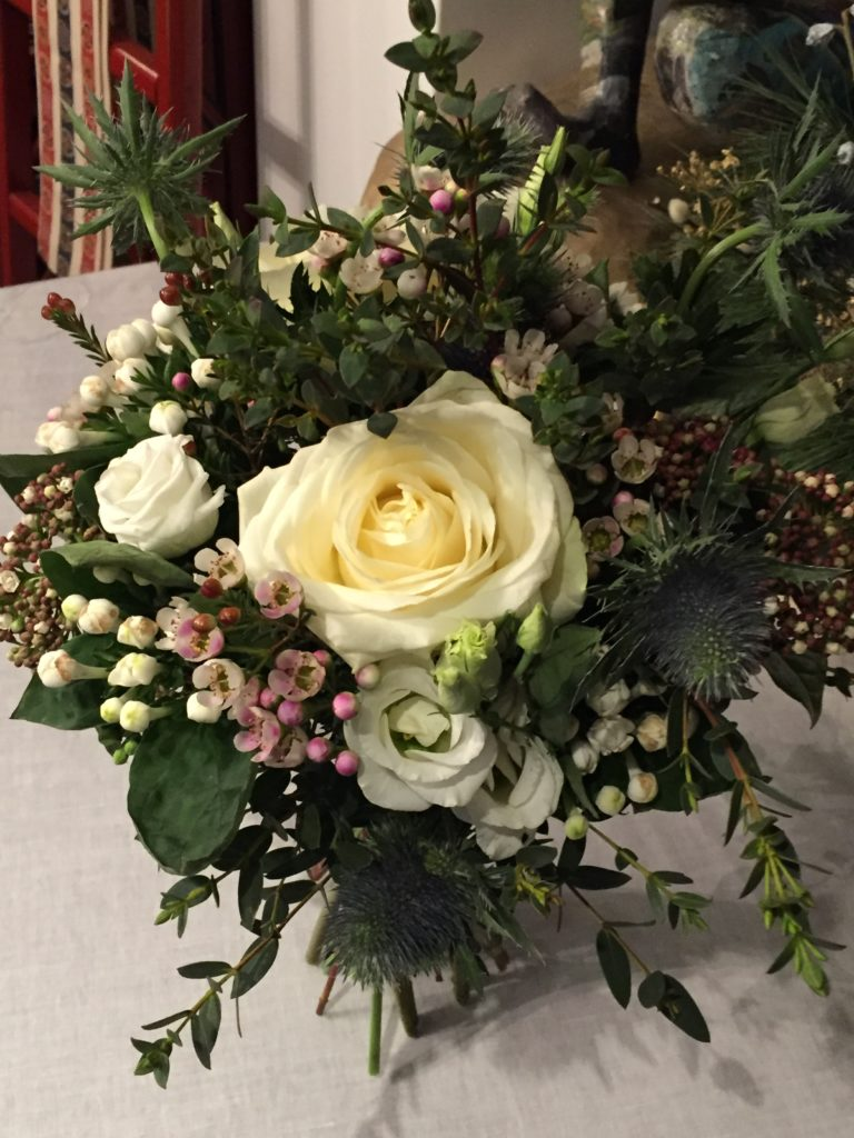 Roses, Lysianthus, Wax, Bouvardia, Chardon, Eucalyptus Parvifolia, Viburnum