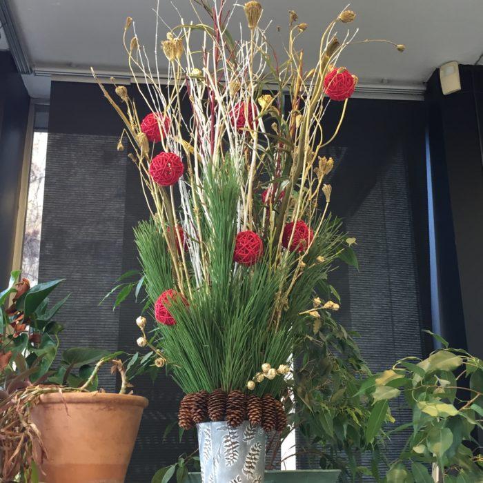 Pinus, Cornouiller, Bouleau, Ombellifères, Pommes de pin, boules de rotin. Composition de Noël dans un pot en zinc